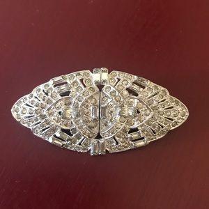 Vintage deco silver shoe clip pin